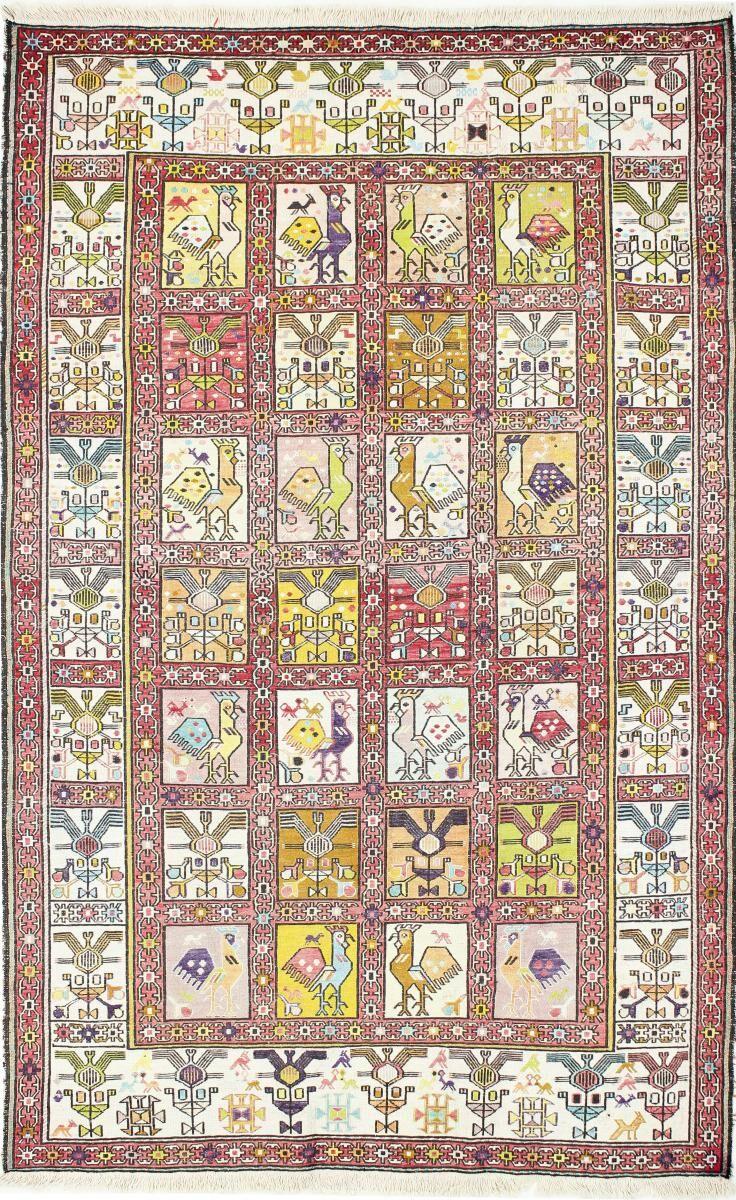 Nain Trading Tapis D'orient Kilim Fars Verni Soie 189x119 Beige/Rose (Laine, Perse/Iran, Tissé à la main)