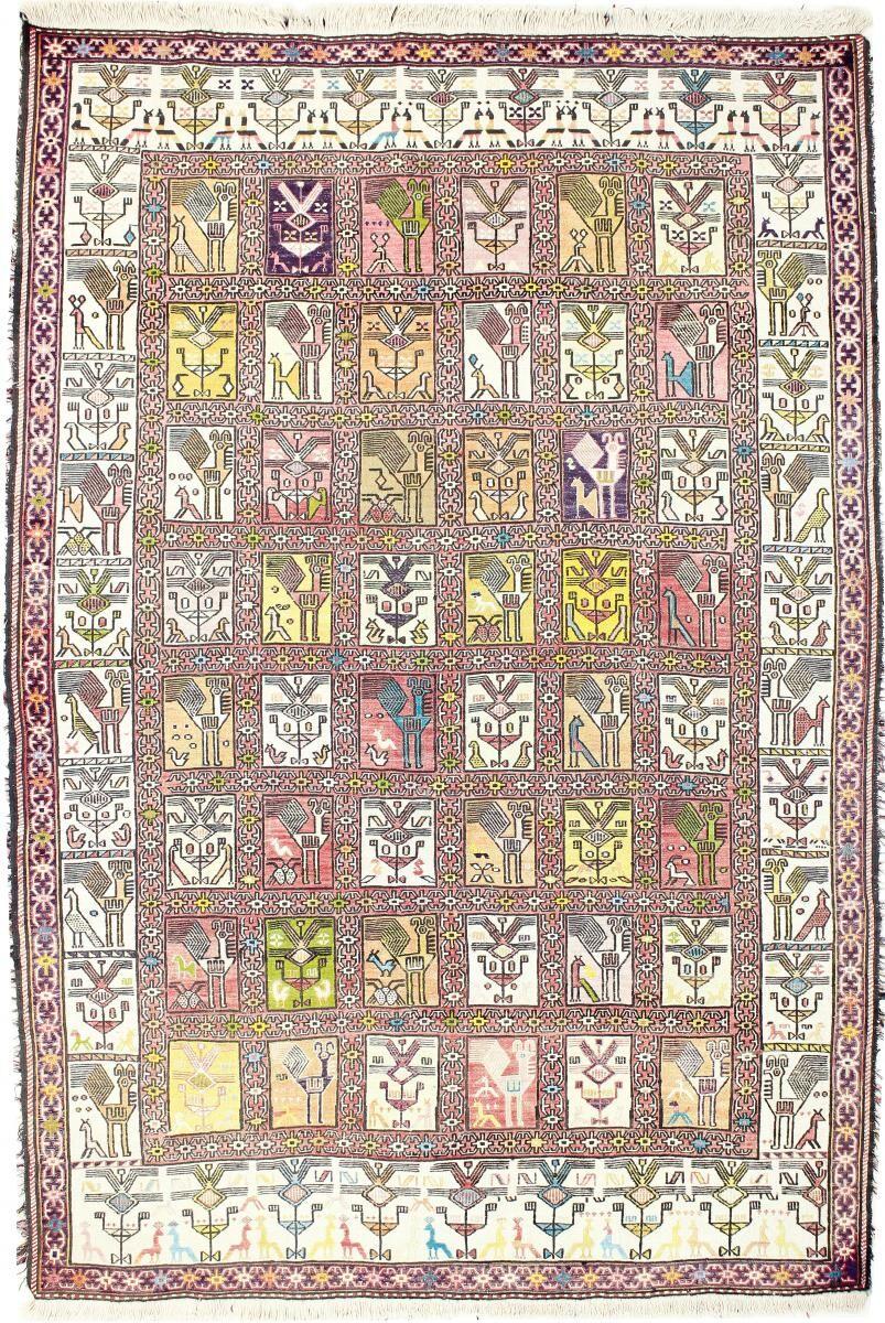 Nain Trading Tapis Fait Main Kilim Fars Verni Soie 192x129 Beige/Rose (Laine, Perse/Iran)