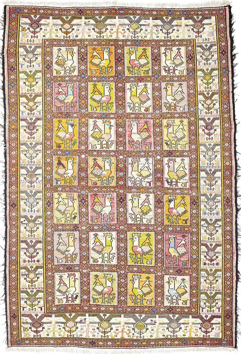 Nain Trading Tapis Fait Main Kilim Fars Verni Soie 187x126 Beige/Rouge (Laine, Perse/Iran)