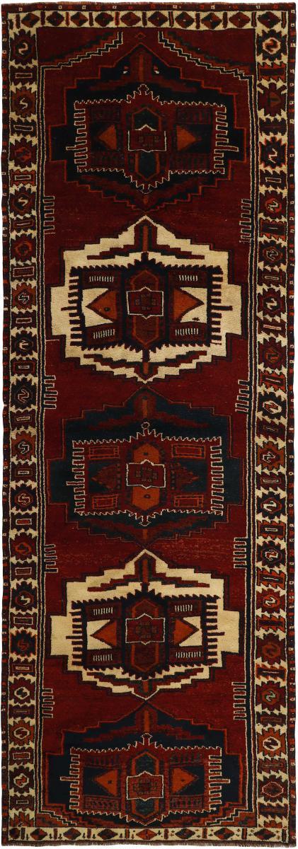 Nain Trading Tapis D'orient Shiraz 413x133 Marron Foncé/Rouge Foncé (Perse/Iran, Laine, Noué à la main)