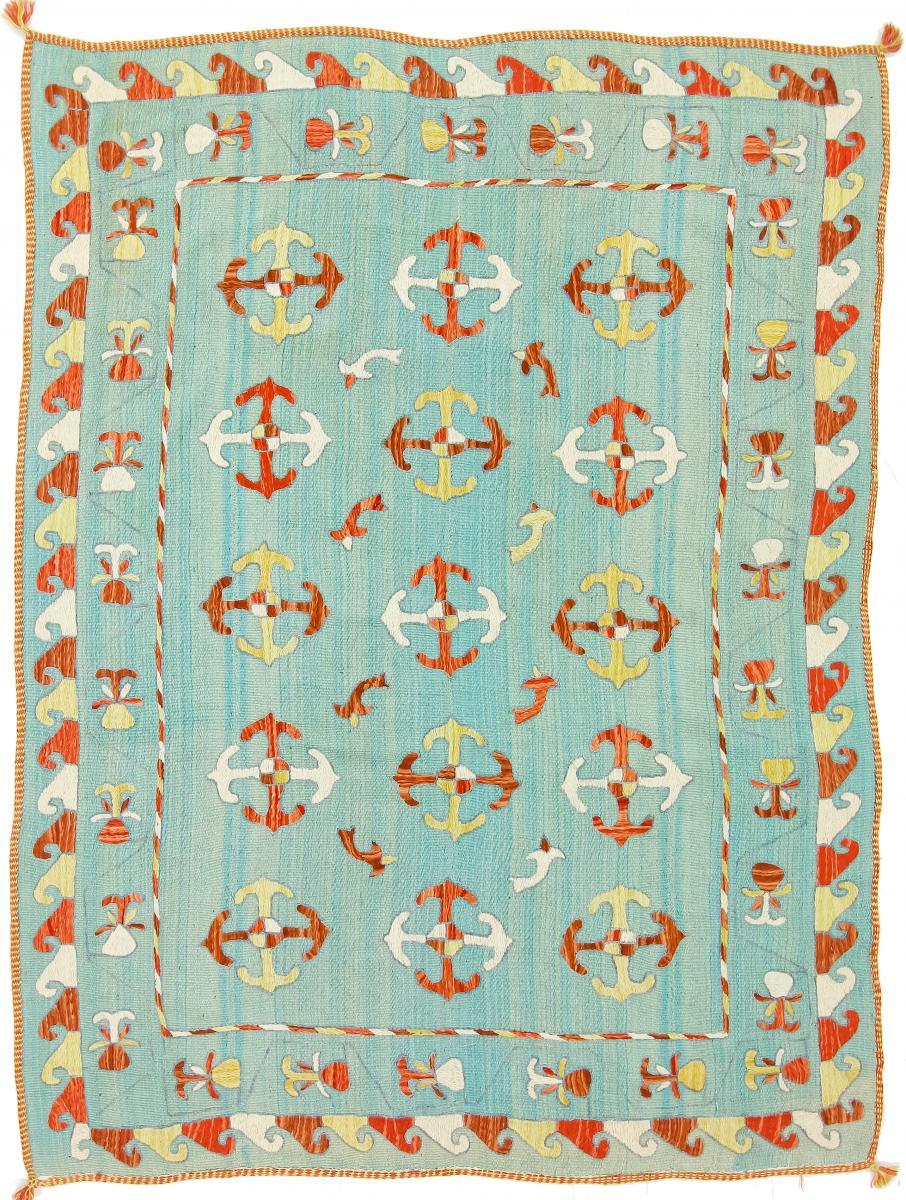 Nain Trading Tapis Authentique Kilim Afghan Soozani 209x156 Gris/Bleu Clair (Laine, Afghanistan, Tissé à la main)