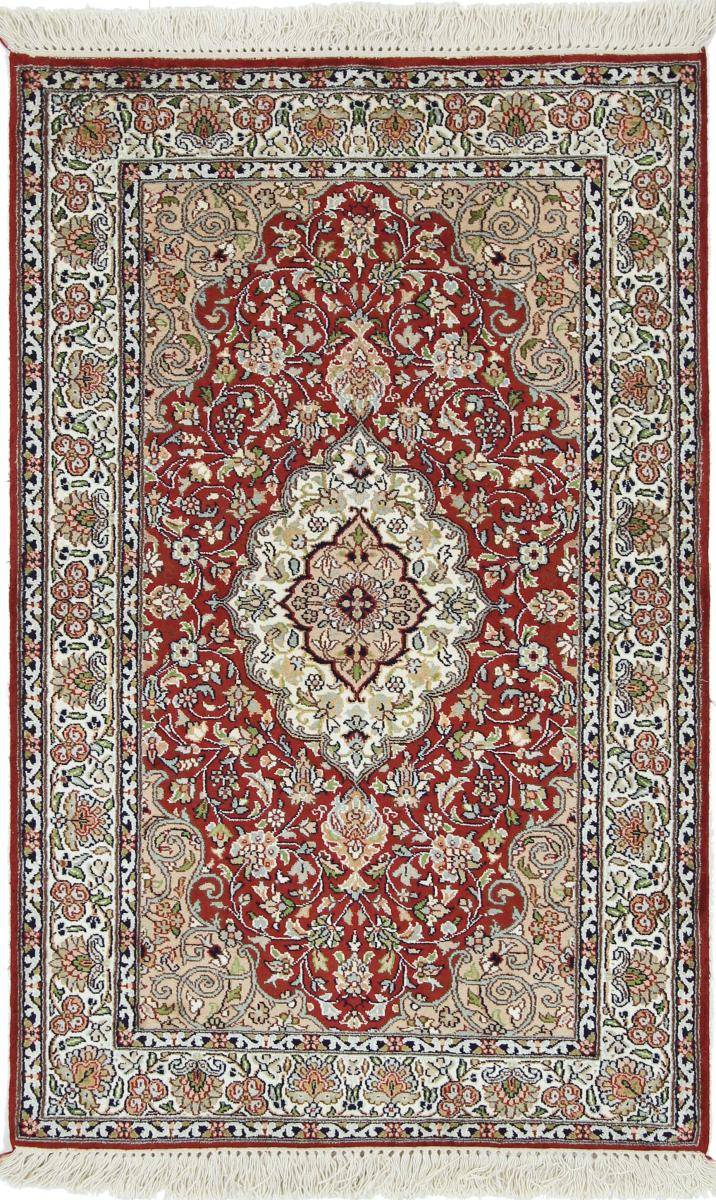 Nain Trading Tapis D'orient Cachemire Pure Soie 123x77 Rouille/Rose (Soie, Inde, Noué à la main)
