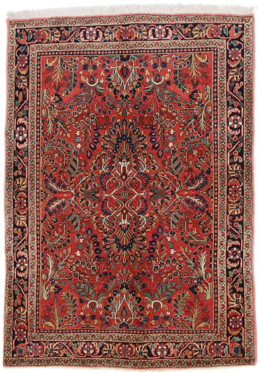 Nain Trading Tapis D'orient Sarough Ancien 199x134 Marron/Rose (Perse/Iran, Laine, Noué à la main)