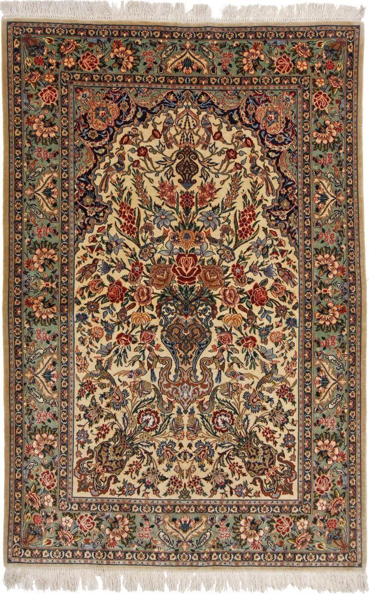 Nain Trading Tapis D'orient Ispahan Ancien Chaîne de Soie 167x107 Beige/Marron Foncé (Laine/Soie, Perse/Iran, Noué à la main)
