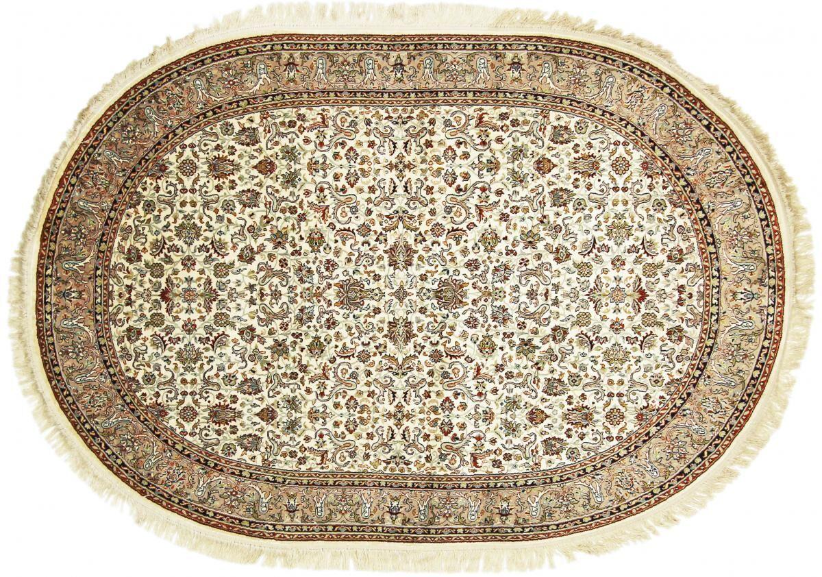 Nain Trading Tapis D'orient Cachemire Pure Soie 221x151 Beige/Marron Foncé (Inde, Soie, Noué à la main)