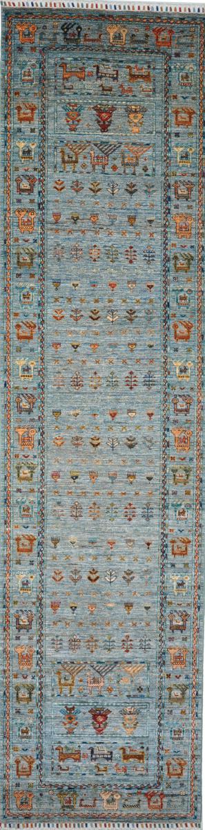 Nain Trading Tapis D'orient Arijana Shaal 321x81 Gris Foncé/Bleu Clair (Pakistan, Laine, Noué à la main)