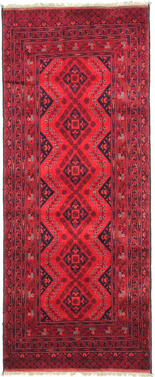 Nain Trading Tapis D'orient Khal Mohammadi Belgique 199x81 Coureur Rouge/Rouille (Laine, Afghanistan, Noué à la main)