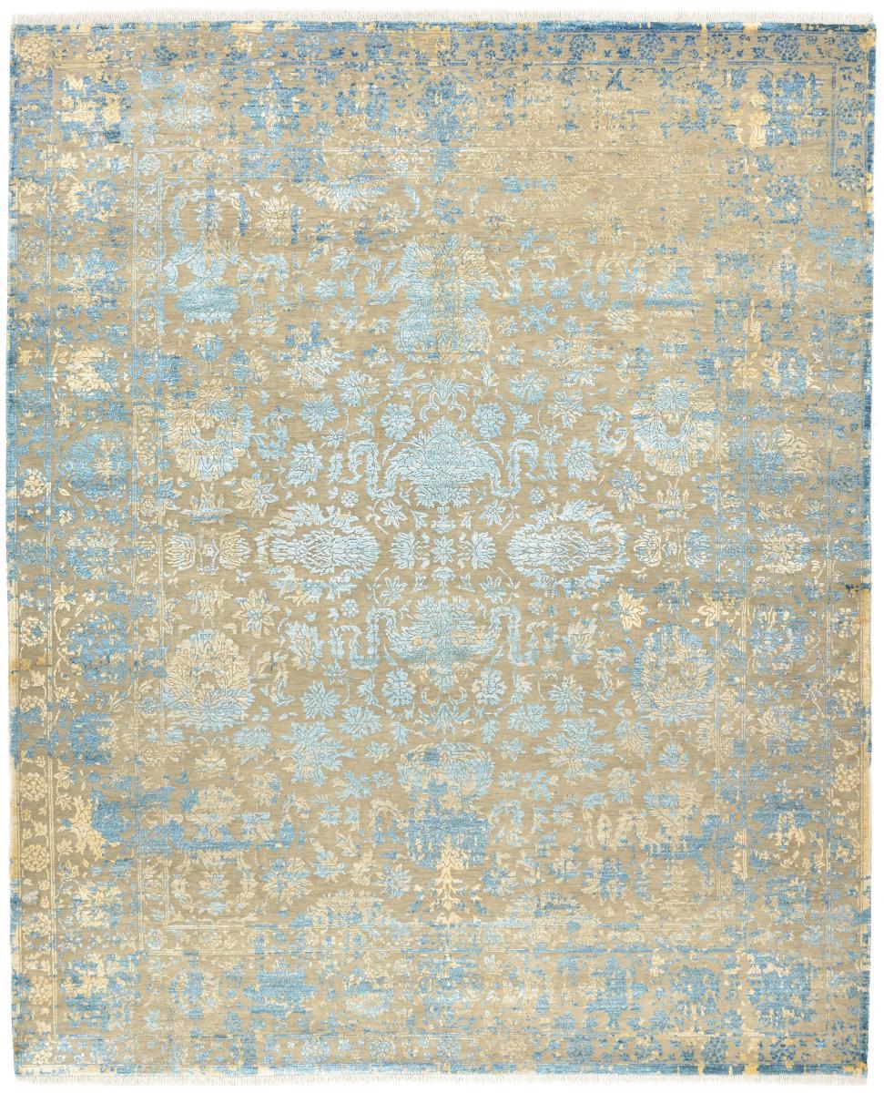 Nain Trading Tapis Authentique Sadraa 301x245 Beige/Bleu Clair (Laine/soie de bambou, Inde, Noué à la main)