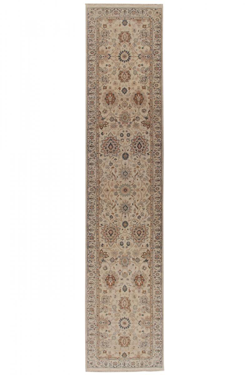 Nain Trading Tapis D'orient Indo Tabriz Royal 357x77 Coureur Beige/Marron Foncé (Noué à la main, Inde, Laine)
