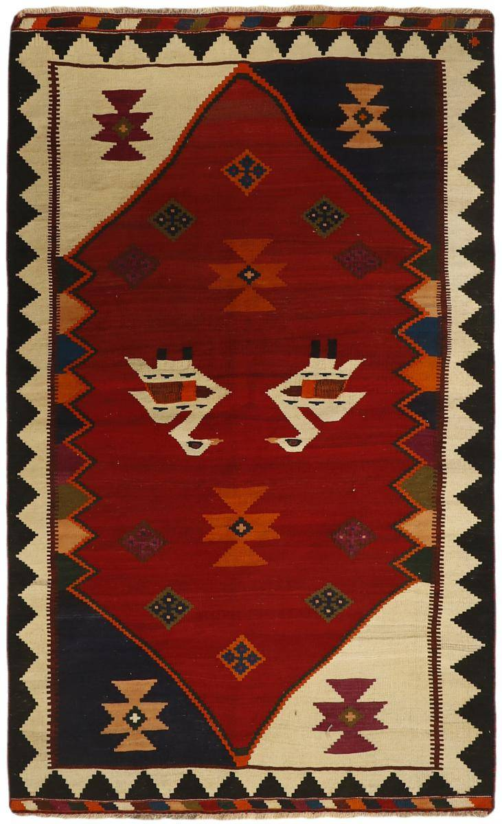 Nain Trading Tapis D'orient Kilim Fars Ancien 219x132 Gris Foncé/Beige (Laine, Perse/Iran, Noué à la main)