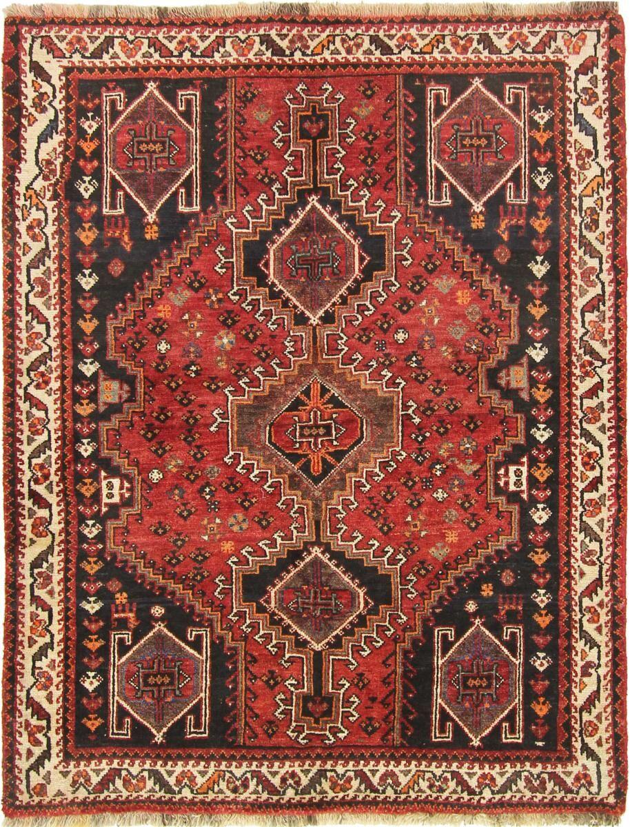 Nain Trading Tapis D'orient Shiraz 157x123 Rouille/Rose (Laine, Perse/Iran, Noué à la main)