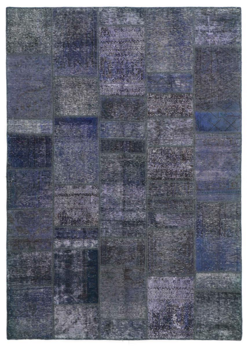 Nain Trading Tapis Patchwork 238x169 Moderne/Design Gris Foncé/Bleu Clair (Noué à la main, Laine, Perse/Iran)