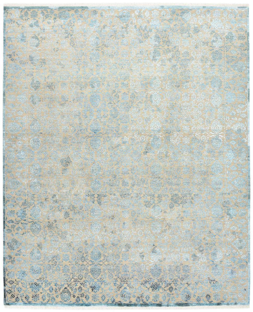 Nain Trading Tapis Authentique Sadraa 306x250 Gris/Bleu Clair (Laine/soie de bambou, Inde, Noué à la main)