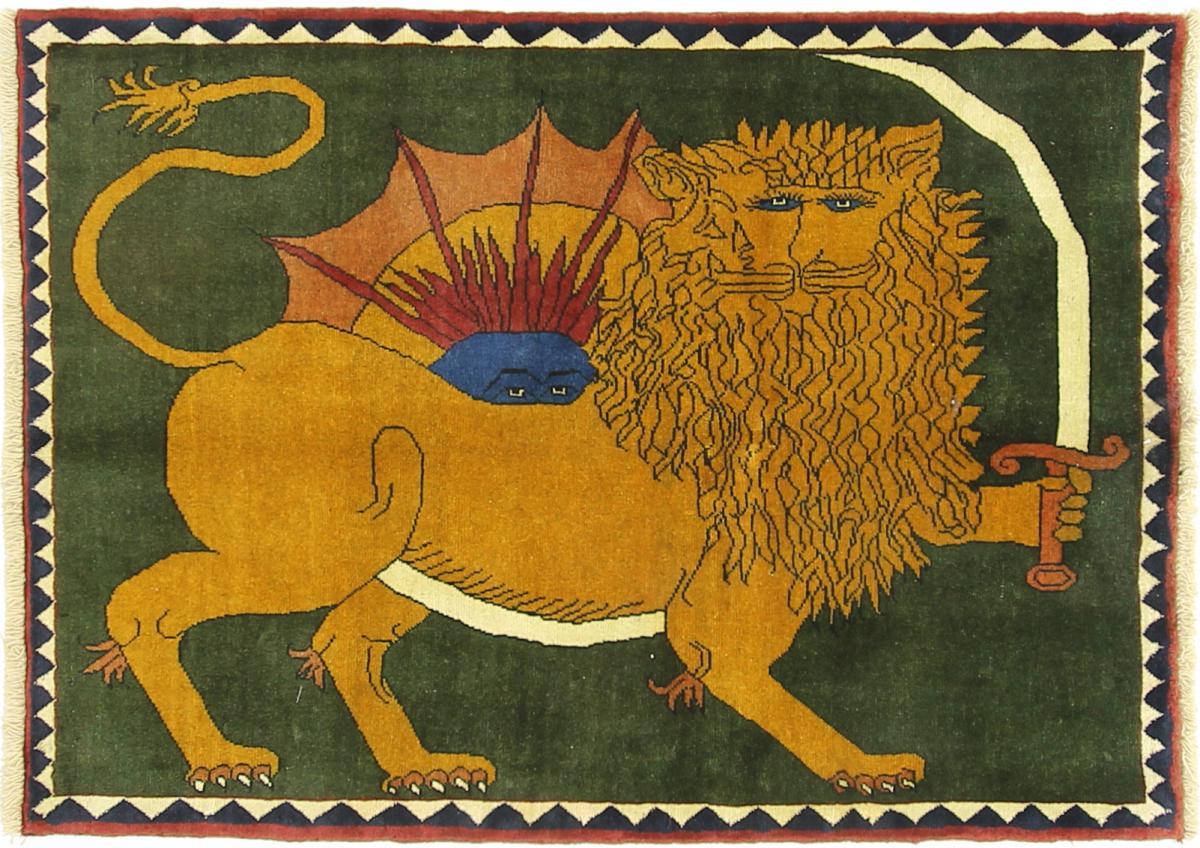 Nain Trading Tapis D'orient Shiraz 141x104 Marron/Olive Verte (Laine, Perse/Iran, Noué à la main)