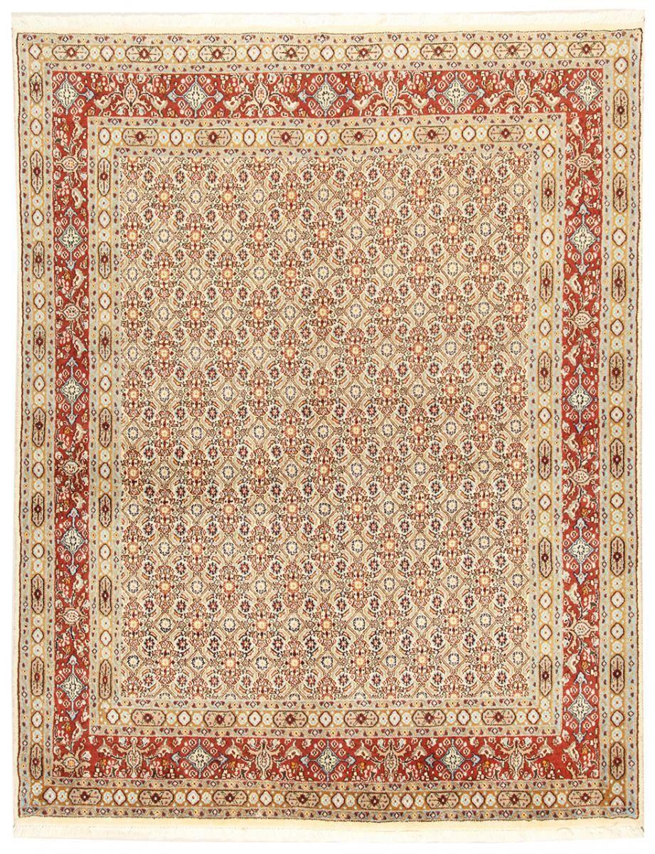 Nain Trading Tapis D'orient Moud 198x152 Beige/Rose (Perse/Iran, Laine/Soie, Noué à la main)