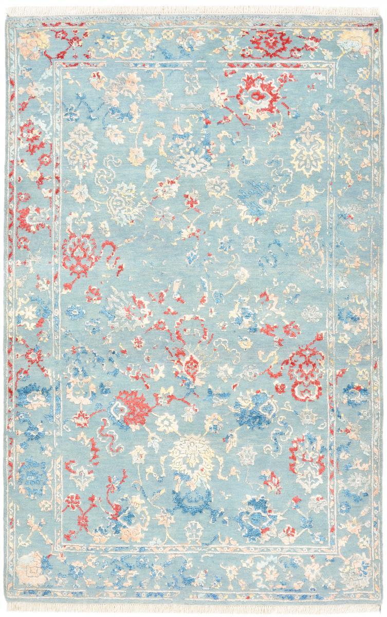 Nain Trading Tapis Authentique Sadraa 183x117 Gris/Bleu Clair (Laine/soie de bambou, Inde, Noué à la main)