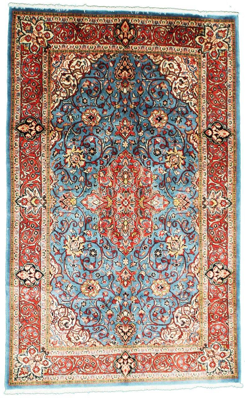Nain Trading Tapis D'orient Sarough Ancien 210x131 Bleu Clair/Rose (Laine, Perse/Iran, Noué à la main)