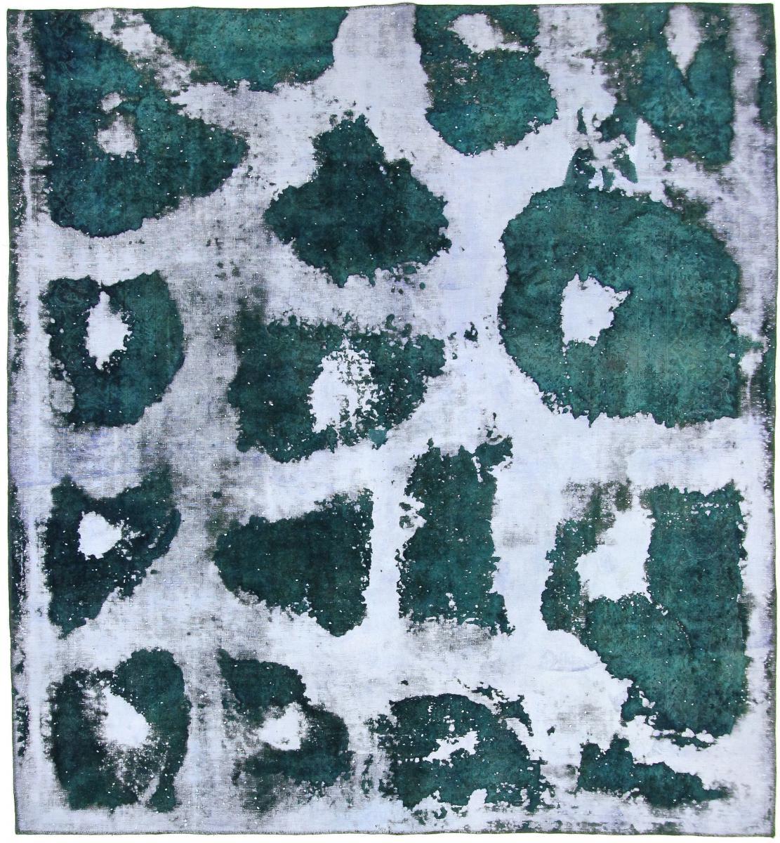 Nain Trading Tapis D'orient Vintage Royal 320x292 Carré Gris Foncé/Turquoise (Laine, Perse/Iran, Noué à la main)