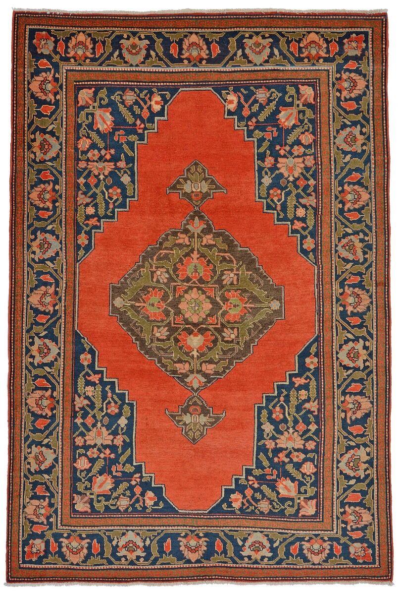 Nain Trading Tapis Authentique Shirvan Ancien 225x150 Orange/Bleu Foncé (Laine, Russie, Noué à la main)