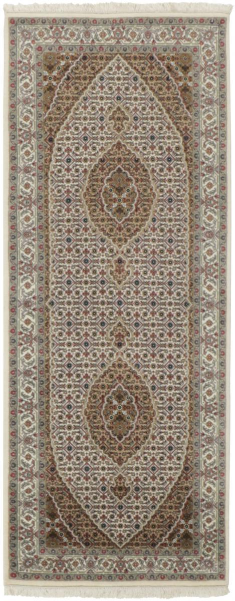 Nain Trading Tapis Authentique Indo Tabriz Royal 202x82 Coureur Gris/Beige (Laine, Inde, Noué à la main)