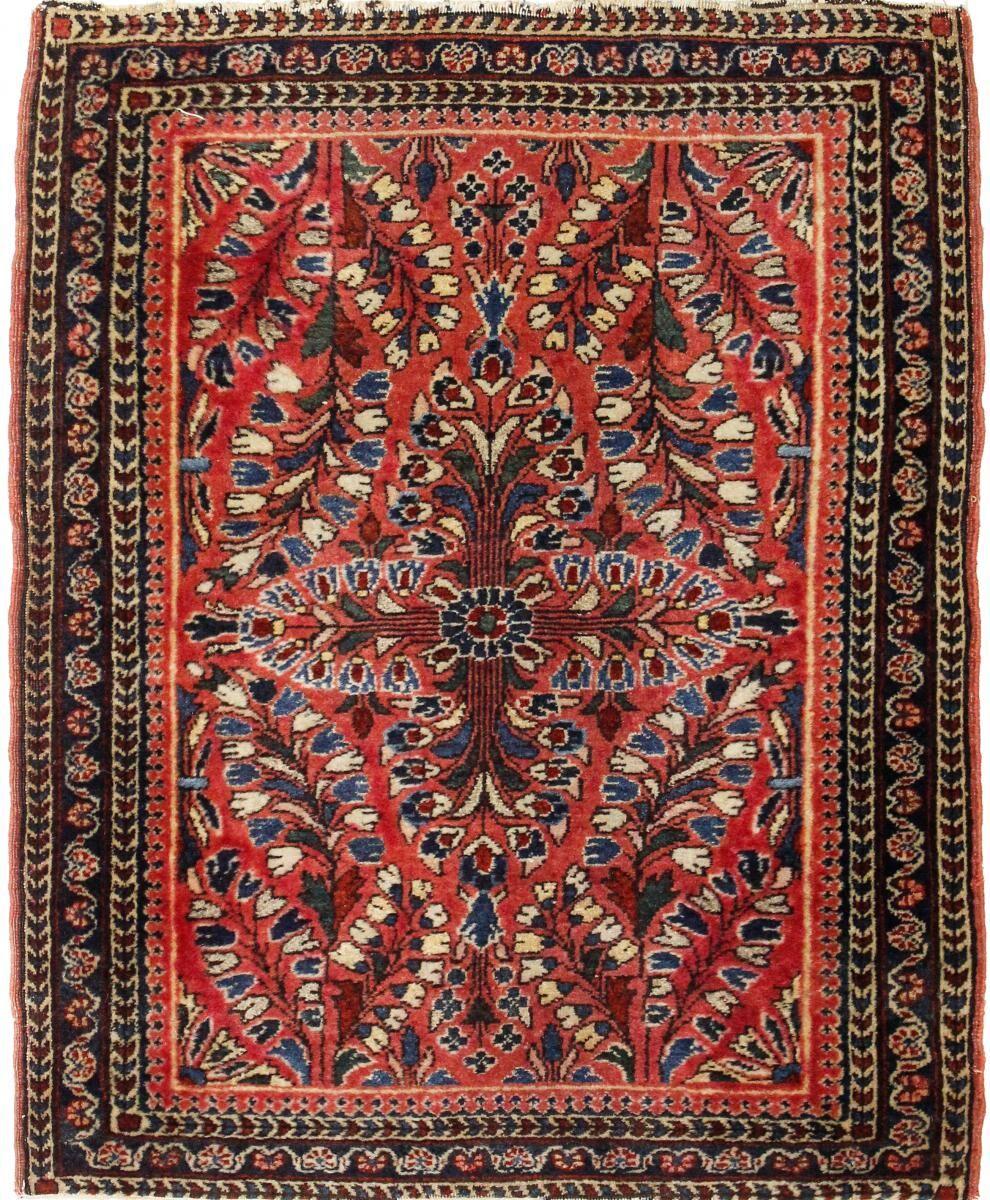 Nain Trading Tapis Sarough Antique 74x59 Marron Foncé/Rouge (Laine, Perse/Iran, Noué à la main)