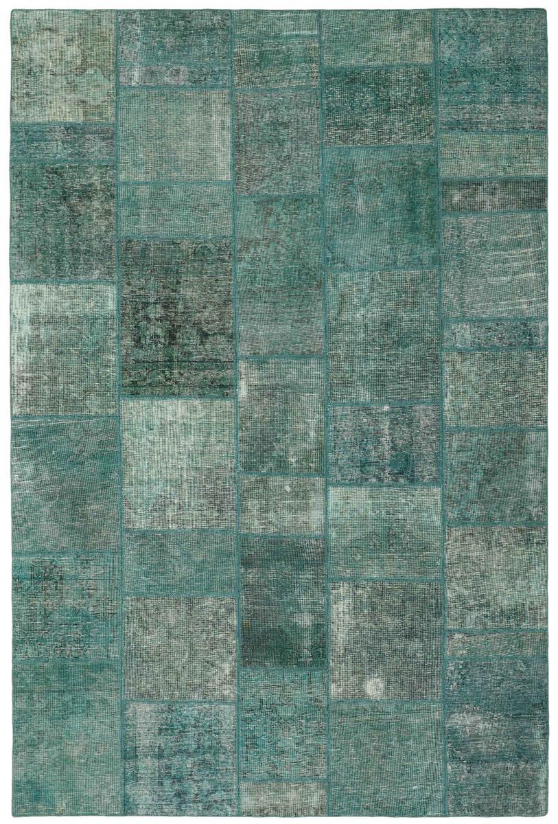 Nain Trading Tapis Patchwork 302x206 Moderne/Design Gris Foncé/Bleu Clair (Noué à la main, Laine, Perse/Iran)