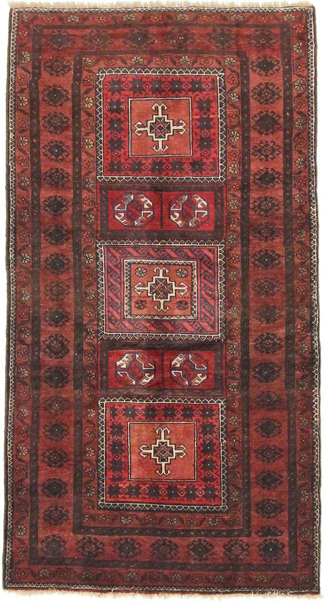 Nain Trading Tapis Baloutche 222x120 Coureur Marron Foncé/Rouille (Laine, Perse/Iran, Noué à la main)