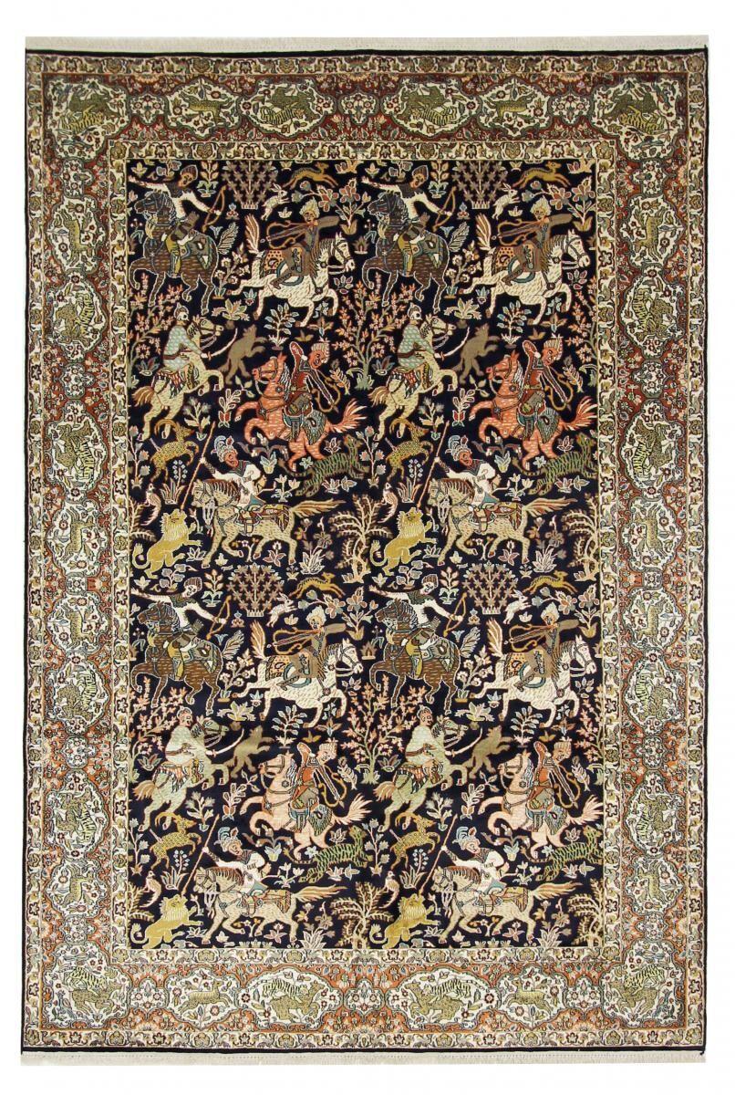 Nain Trading Tapis D'orient Cachemire Pure Soie 277x187 Gris Foncé/Marron Foncé (Noué à la main, Inde, Soie)