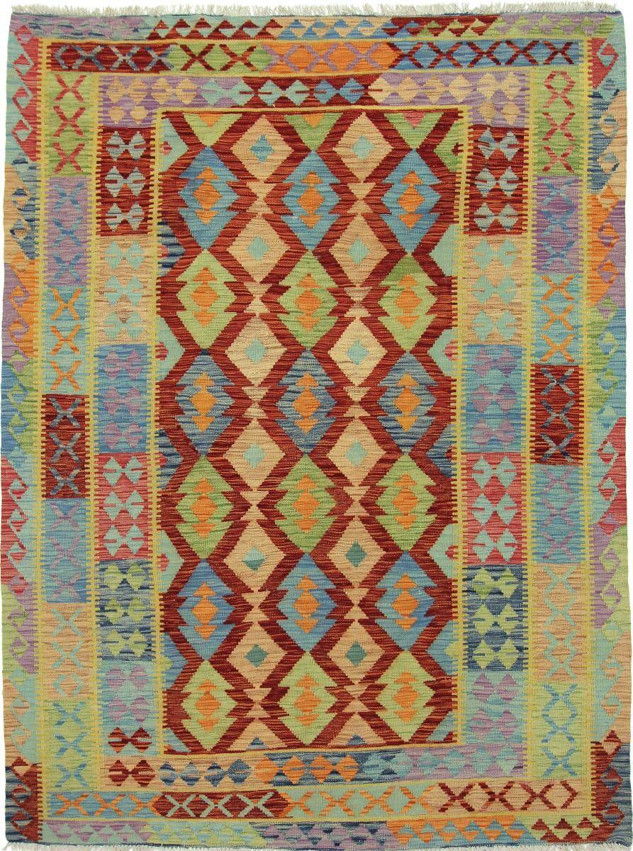 Nain Trading Tapis D'orient Kilim Afghan 242x182 Marron/Bleu Clair (Afghanistan, Laine, Tissé à la main)