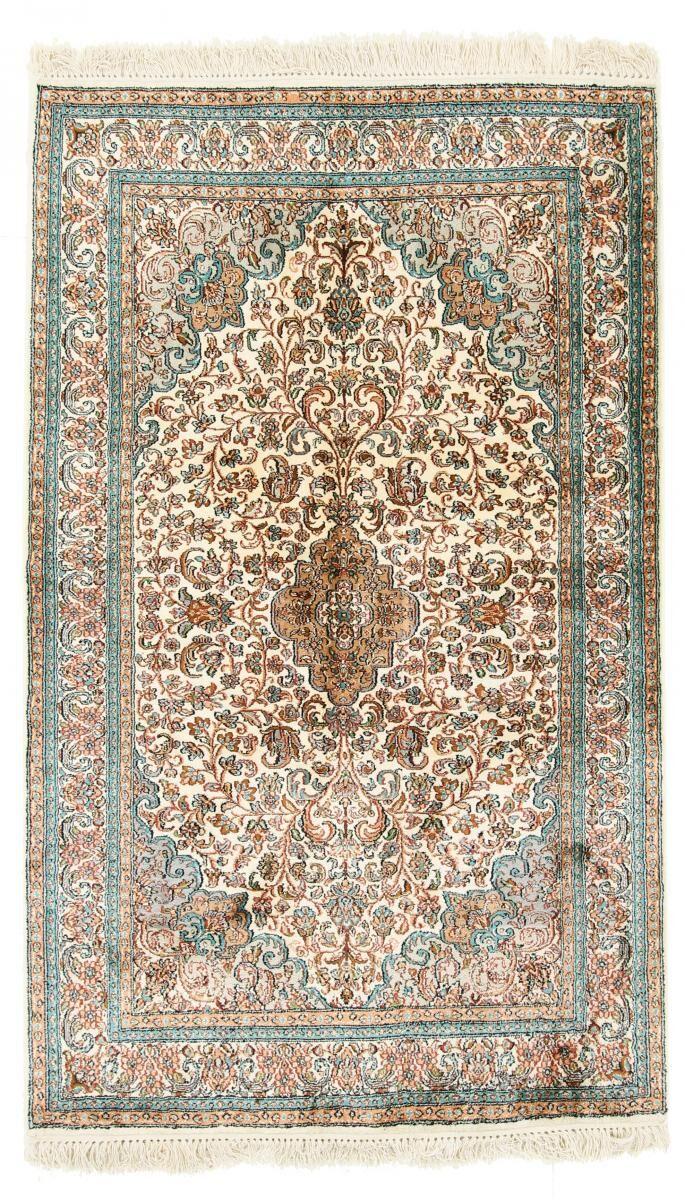 Nain Trading Tapis D'orient Cachemire Pure Soie 158x96 Beige/Marron Foncé (Inde, Soie, Noué à la main)