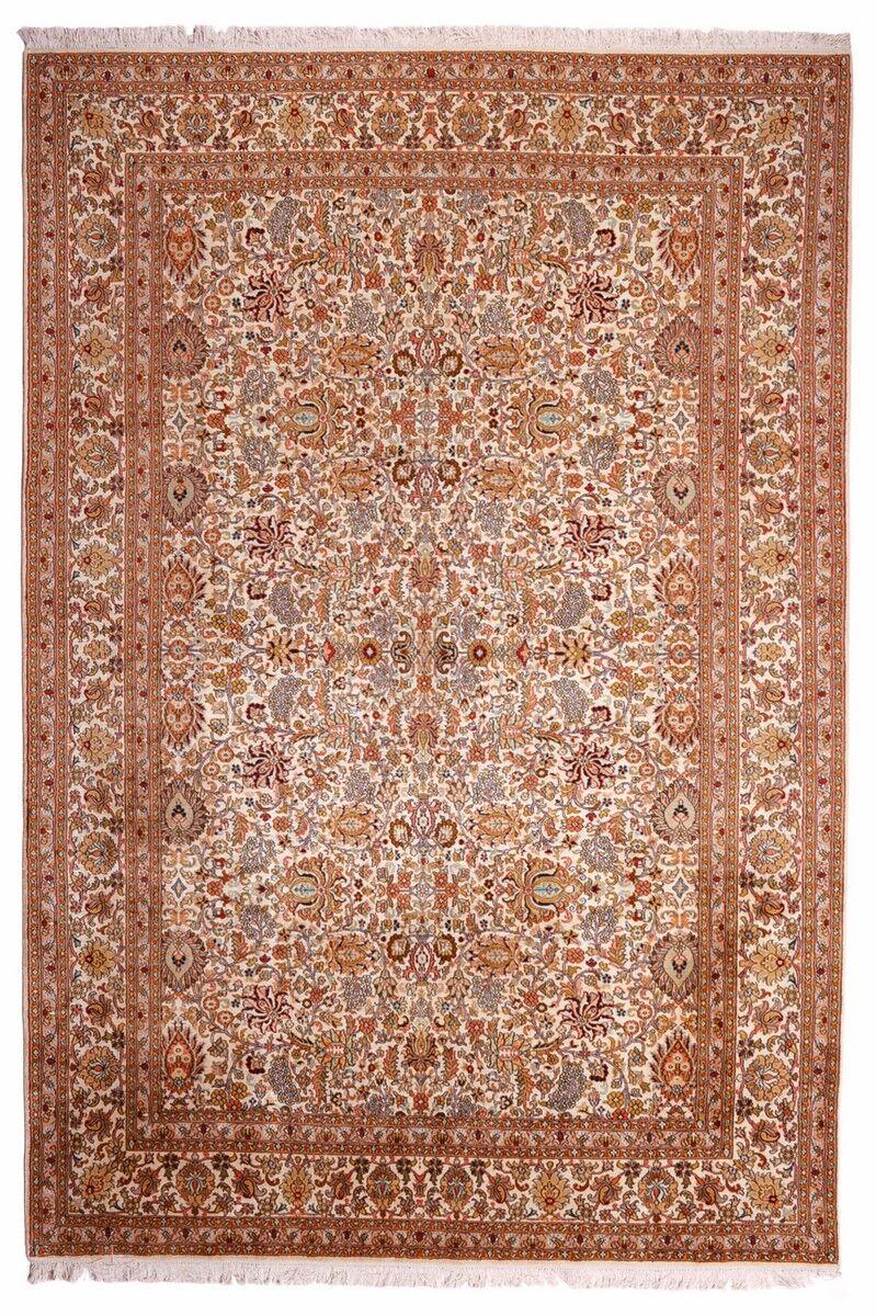 Nain Trading Tapis D'orient Cachemire Pure Soie 274x184 Beige/Rose (Soie, Inde, Noué à la main)