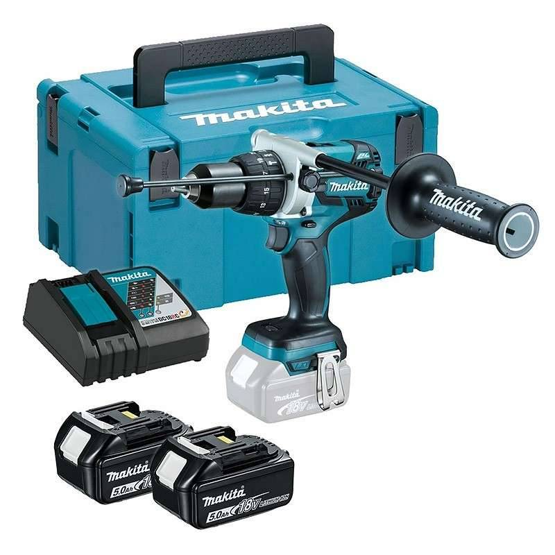 Makita Perceuse Visseuse à Percussion MAKITA DHP481RTJ 18 V Sans Charbon 2 x 5.0 Ah