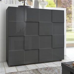 Kasalinea Buffet haut gris laqué brillant design DOMINOS 2-L 121 x P 42 x H 111 cm- Gris Gris - Publicité