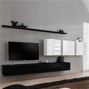 Kasalinea Meuble télé suspendu noir et blanc ANSELMO 2-L 340 x P 40 x H 150 cm- Blanc Blanc - Publicité