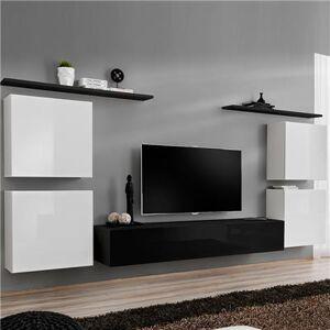 Kasalinea Meuble tv mural blanc et noir DONATELLO-L 320 x P 40 x H 150 cm- Blanc Blanc - Publicité