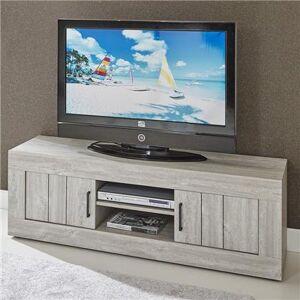 Kasalinea Meuble tv contemporain couleur bois MEREDITH-L 150 x P 48 x H 52 cm- Gris Gris - Publicité
