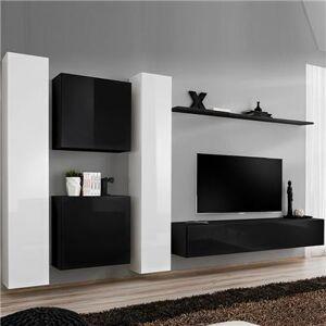 M-149 Meuble tele suspendu blanc et noir ALBA-L 330 x P 40 x H 180 cm- Noir Noir - Publicité