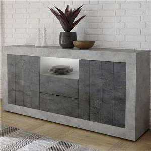 Kasalinea Buffet 180 cm gris effet béton moderne MABEL 7-L 180 x P 42 x H 86 cm- Gris Gris - Publicité