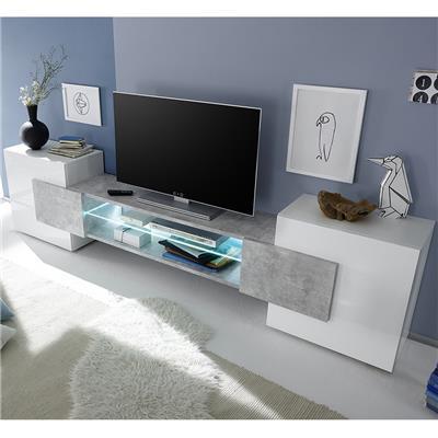 M-012 Meuble TV design blanc laqué brillant et effet béton EROS-L 258 x P 37 x H 61 cm- Blanc Blanc