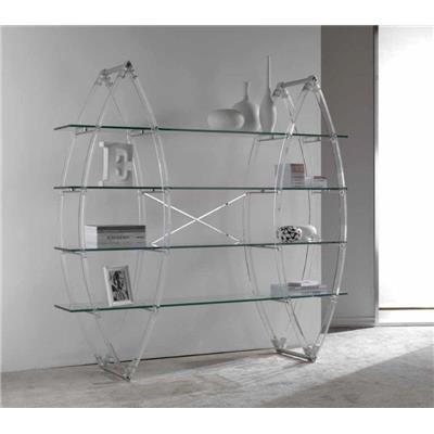 Kasalinea Etagère bibliothèque en polycarbonate et en verre design LOU-L 185 x P 42 x H 186 cm- Transparent Transparent