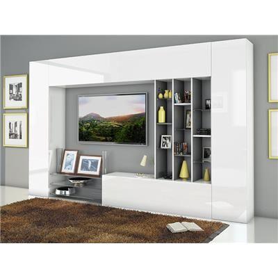 M-063 Ensemble de meuble TV laqué blanc brillant et effet blanc marbré design SIXTINE-L 290 x P 33 x H 180 cm- Blanc Blanc