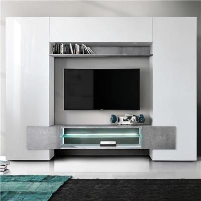 Kasalinea Meuble tv mural blanc laqué et effet béton EROS-L 258 x P 36 x H 191 cm- Blanc Blanc