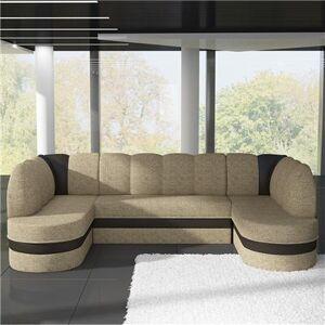 M-071 Canapé d'angle panoramique convertible beige et marron PAOLA 4-L 318 x P 180 x H 88 cm- Beige Beige - Publicité