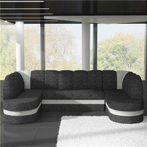 M-071 Canapé panoramique convertible gris anthracite et blanc CARMEN-L 318 x P 180 x H 88 cm- Gris Gris - Publicité