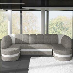M-071 Canapé d'angle panoramique convertible gris et blanc PAOLA 2-L 318 x P 180 x H 88 cm- Gris Gris - Publicité
