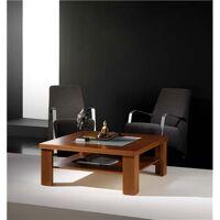 M-020 Table basse carrée couleur teck 2 plateaux contemporaine KAREN-L 90 x P 90 x H 36,1 cm- Marron Marron <br /><b>871.99 EUR</b> Kasalinea