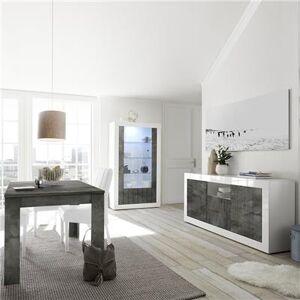 Kasalinea Salle a manger complete blanche et grise moderne MABEL 6-L 185 x P 90 x H 79 cm- Gris Gris - Publicité