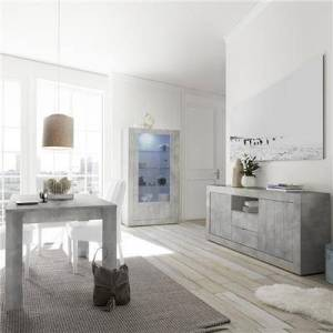 M-012 Salle à manger complète moderne couleur gris béton MABEL 2-L 185 x P 90 x H 79 cm- Gris Gris - Publicité
