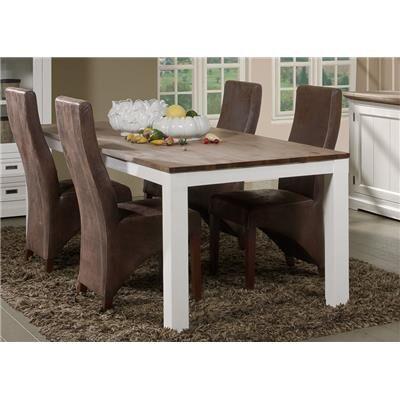M-056 Grande table à manger contemporaine en bois massif blanc EMELINE