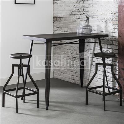 Kasalinea Tabourets de bar pivotants industriels WINDSOR, lot de 2-L 35 x P 35 x H 80 cm- Noir Noir